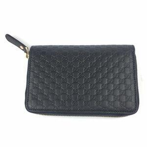 Gucci Bags - Gucci Black Gg Micro Guccissima Leather Zip Around
